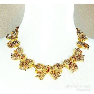 J. Crew Crystals and Bows statement necklace